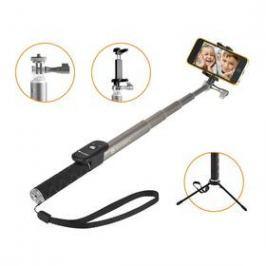 Selfie tyč GoGEN 4 teleskopická, bluetooth, titanová (GOGBTSELFIE4T)