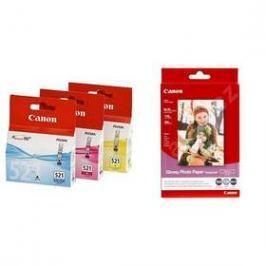 Canon BJ CLI-521 C/M/Y Pack + papír GP 501,  fotopapír 10x15 cm, 100 listů