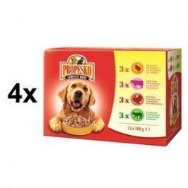 Propesko pes kuře + hovězí + krůta + jehně 4 x (12 x 100g)