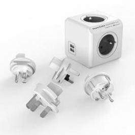 Powercube Rewirable USB + Travel Plugs - šedý (456308) šedý