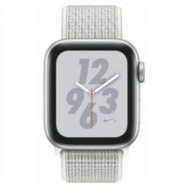 Apple Watch Nike+ Series 4 GPS 40mm pouzdro ze stříbrného hliníku - sněhově bílý provlékací sportovní řemínek Nike (MU7F2HC/A)
