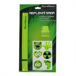 Reflexní sada 2 SportTeam (pásek, přívěsek, samolepky) - zelené