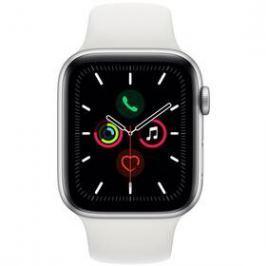 Apple Watch Series 5 GPS 44mm pouzdro ze stříbrného hliníku - bílý sportovní řemínek (MWVD2HC/A)