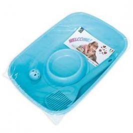 Argi pro kotě - toaleta, lopatka, miska a míček - 37 x 27 x 8,5 cm modrý