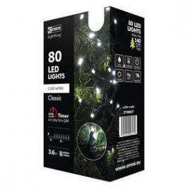 EMOS 80 LED, 8m, řetěz, studená bílá, časovač, i venkovní použití (1534080025)