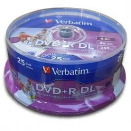 Verbatim DVD+R DualLayer, 8,5GB, 8x, printable, 25cake (43667)
