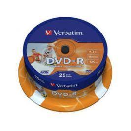 Verbatim Printable DVD-R 4.7GB, 16x, 25cake (43538)
