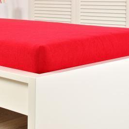 Napínací prostěradlo jersey červené Dvoulůžko Bavlna - jersey