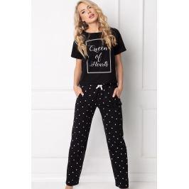 Dámské pyžamo Hearty dlouhé  černá