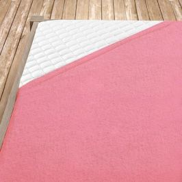 Napínací froté prostěradlo světle růžové Dvoulůžko Bavlna - froté