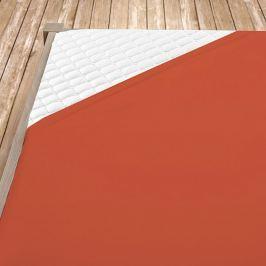 Napínací jersey prostěradlo terrakotové Dvoulůžko Bavlna - jersey