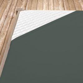 Napínací jersey prostěradlo tmavě šedé Jednolůžko Bavlna - jersey