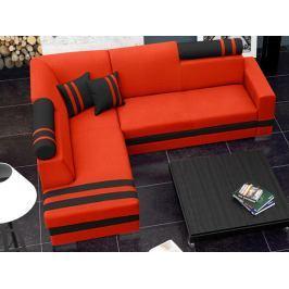Rohová sedací souprava Raisa (oranžová + černá) (L)