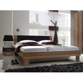 Manželská postel 180 cm Verwood Typ 52 (ořech + černá) (s noč. stolky)