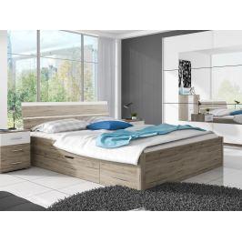 Manželská postel 180 cm Benson Typ 52 (san remo světlý + bílá)