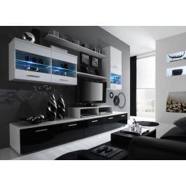 Obývací Stěna Beverley I (bílá + černá) (s osvětlením)