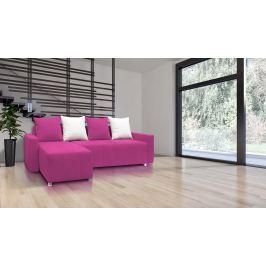 Rohová sedací souprava Briston s opěrkami (růžová + polštáře)