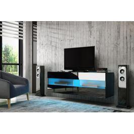 TV stolek/skříňka Rita (černý lesk + černá matná)