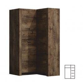 Rohová šatní skříň Infinity 14L Jasan tmavý
