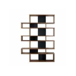TH Regál LOMER 7 (Ořech (dýha), černá (mat) záda)