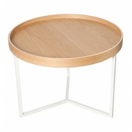 INV Odkládací stolek Linoa 60cm bílý/dub