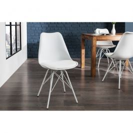 INV Jídelní židle Luton bílá-bílá, retro