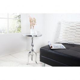 INV Odkládací stolek Barok 55cm stříbrný, kruhový