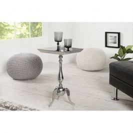 INV Barokní odkládací stolek Barok 55cm stříbrný, čtvercový