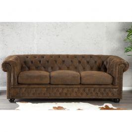 INV Sofa Rosemary třímístné, hnědá antik