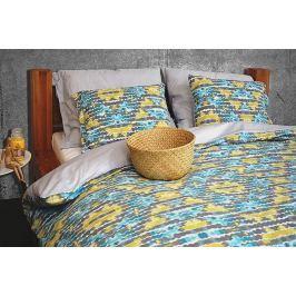 Gipetex Natural Dream Italské povlečení 100% bavlna LUX Acquarello blankytná se dvěma povlaky na polštář - 140x200 / 50x70 + 70x90