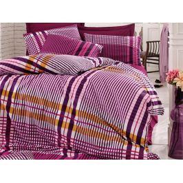 Homeville Povlečení 100% bavlna Emma fialková káro se dvěma povlaky na polštář - 140x220 / 50x70 + 70x90