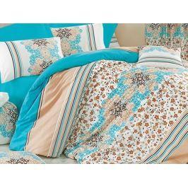 Homeville Povlečení 100% bavlna Leila tyrkysová se dvěma povlaky na polštář - 140x220 / 50x70 + 70x90