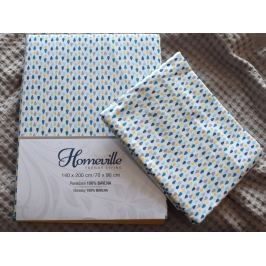 Homeville Homeville povlečení 100% bavlna Esteri modrá 140x200cm+70x90cm