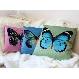 Home collection Dekorační polštářek motýlci 45x45 cm - růžová