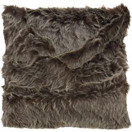 Home collection Dekorační polštářek imitace kožešiny 48x48 cm - tmavě hnědá