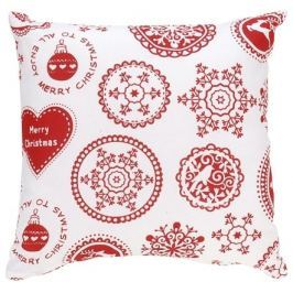 Home collection Dekorační polštářek s vánočními motivy 40x40cm bílý s červeným potiskem