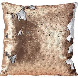 Home collection Dekorační polštář s flitry 45x45 cm bronzová/stříbrná