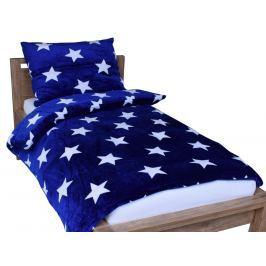 Homeville Homeville povlečení mikroplyš bílé hvězdičky/modrá 140x200/70x90 cm