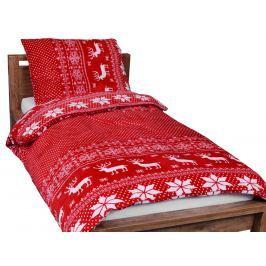 Homeville Homeville povlečení mikroplyš bílý norský vzor/červená 140x200/70x90 cm
