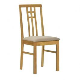 Židle, tmavý dub/látka krémová, SILAS 0000006141 Tempo Kondela