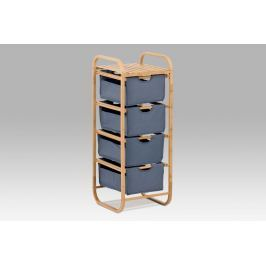 Regál bambusový 4-šuplíky (šuplíky v modré barvě) DR-017A Autronic
