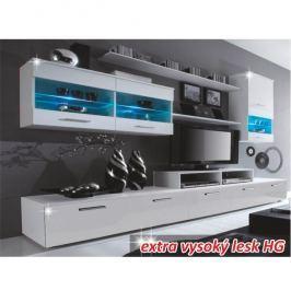 Obývací stěna LEO bílá / bílá extra vysoký lesk Tempo Kondela