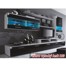 Obývací stěna LEO bílá / černá extra vysoký lesk Tempo Kondela