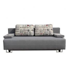 Rozkládací pohovka na každodenní spaní, alova šedá / polštáře vzor, ELIZE 0000109768 Tempo Kondela