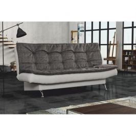 Pohovka rozkládací s úložným prostorem, ekokůže bílá / látka Baltimor šedá, LIAM 0000186809 Tempo Kondela