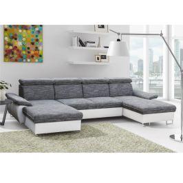 Rohová sedací souprava ve tvaru U, ekokůže bílá / látka šedá, MAGIC 0000185736 Tempo Kondela