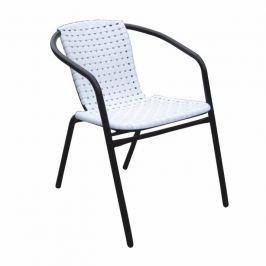 Záhradní židle, stohovatelná, bílá / černá, BERGOLA 0000194799 Tempo Kondela