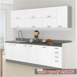 Kuchyňská linka základní sestava PRADO 260 bílá extra vysoký lesk / šedá Tempo Kondela