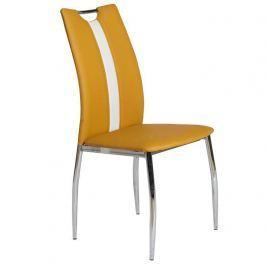 Jídelní židle OLIVA žlutá kari / bílá Tempo Kondela