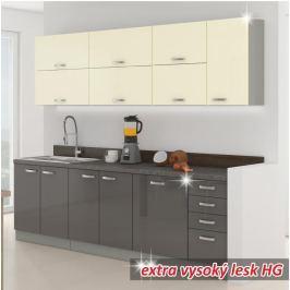 Kuchyňská linka základní sestava PRADO 260 šedá / krémová extra vysoký lesk Tempo Kondela